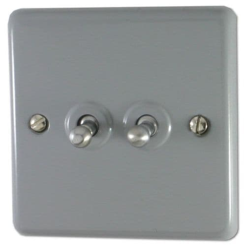 G&H CLG282 Standard Plate Light Grey 2 Gang 1 or 2 Way Toggle Light Switch